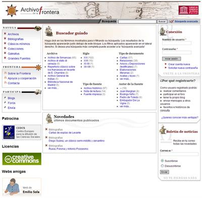 Figura 1: Portada de la página web del Archivo de la Frontera