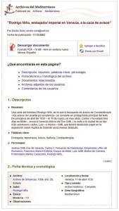 Figura 2: Ficha de documento de la sección Archivos del Mediterráneo.