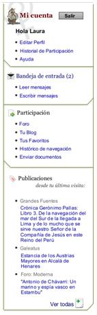 Figura 3 Menú de usuario: Herramientas de comunicación y participación.